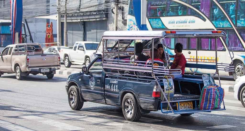Songthaew transportation in Pattaya