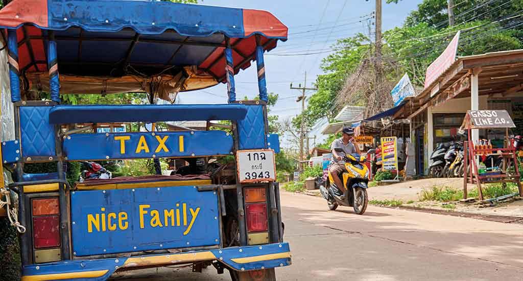TukTuk parked on street, Koh Lanta, Thailand