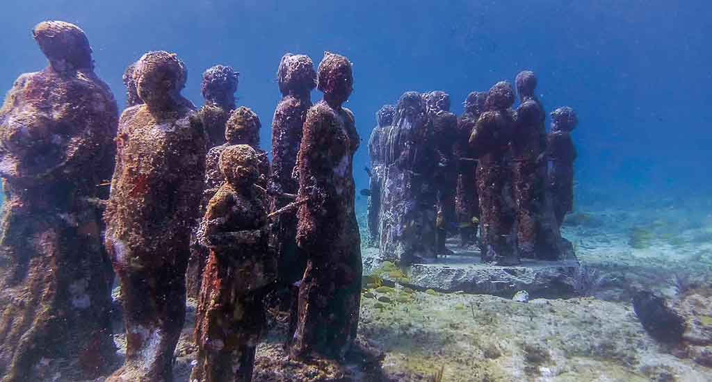 Underwater art in Cancun Mexico